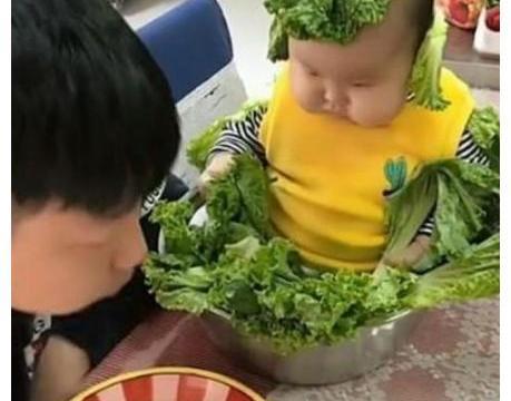 """被爸爸端上桌后,宝宝不哭不闹,成了""""娃娃菜"""",眼神太无辜了"""