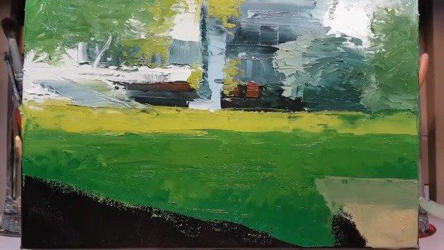 刮刀画下的休闲草坪 Painting by Dusan
