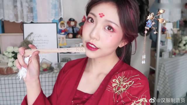 万用汉服妆容教程,眉间四点红