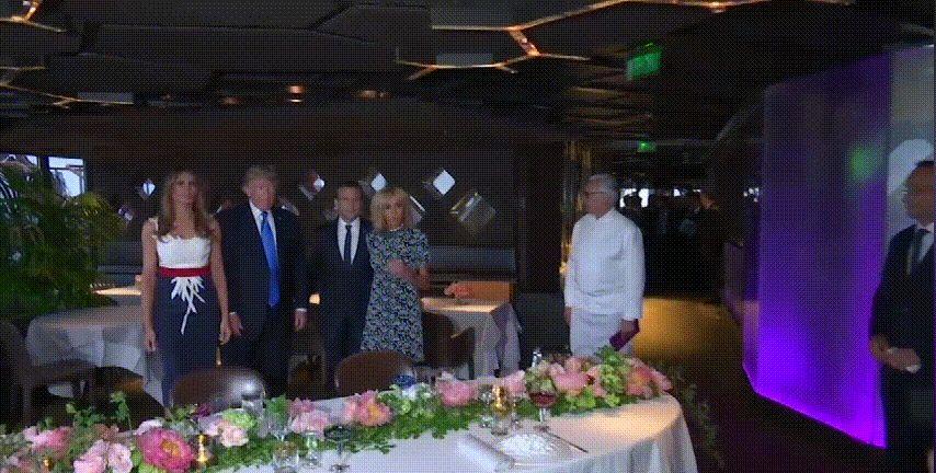 埃菲尔铁塔共餐,梅拉尼娅穿搭和场景超配,布丽吉特稍逊一筹