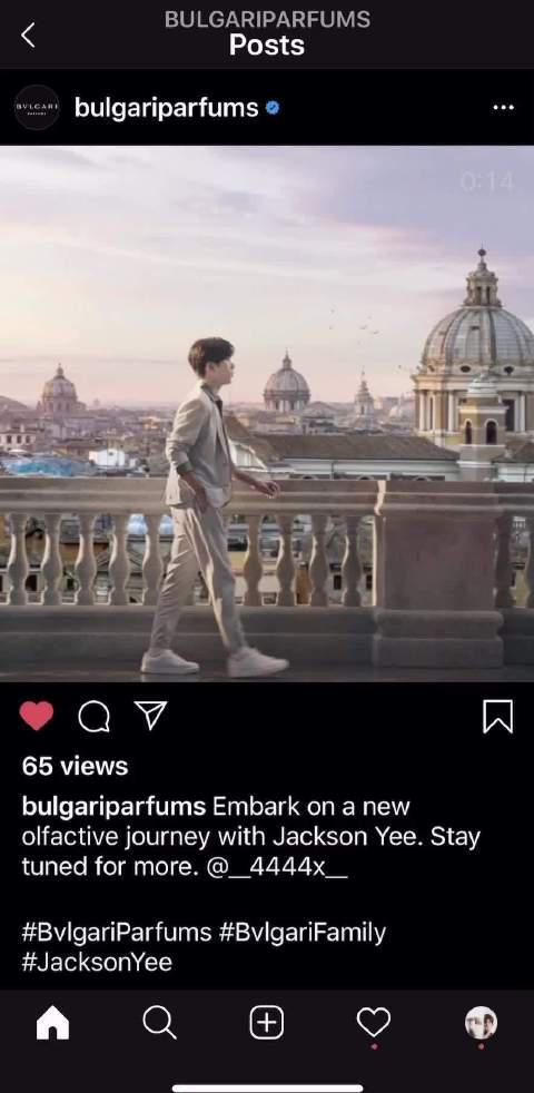 宝格丽香氛的官方Instagram 把我们宝格丽香氛全球代言人