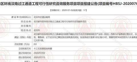 好消息!武汉都市区环线汉南过江通道报建,力争10月动工