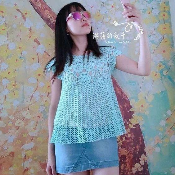 盈盈:网红夏季女士拼花钩针罩衫(有编织图解)