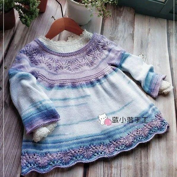 水晶紫:段染火鸡棉宝宝长袖棒针罩衫(有编织图解)