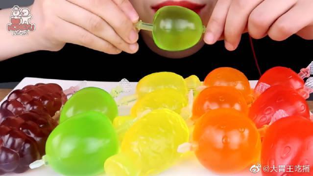 今天是果冻糖果挑战赛!彩虹果冻面的口感真的很棒啊~