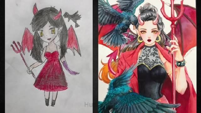 授权:画师『hutachan96』的手绘水彩插画线稿绘画过程
