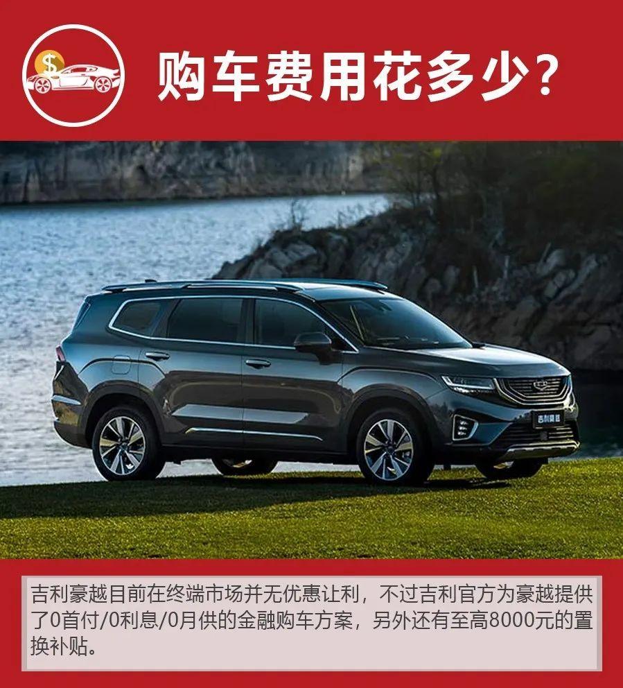 大空间中型SUV,月均花销1602元,吉利豪越购车、养车费用如何?