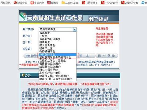 2020年云南省特岗教师招聘考试网上报名流程
