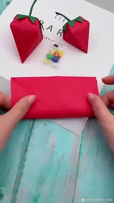 手工折纸草莓盲盒详细教程,好看又好玩,学会了赶紧去哄孩子!