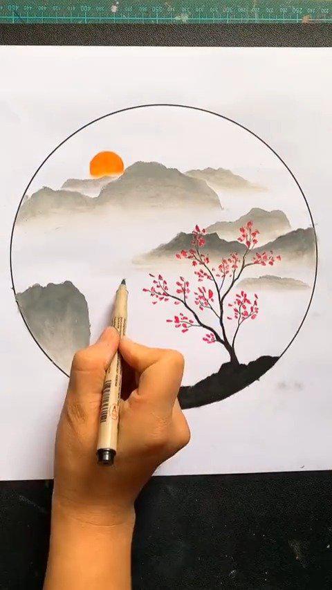 简单几步画山水风景,油画棒风景画 ! 源自大触的绘板姬