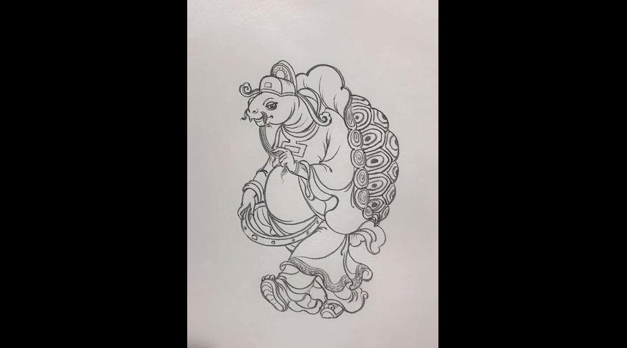 工笔白描画拟人设计之龟丞相,看白描绘画就是种享受。 搏艺玉道