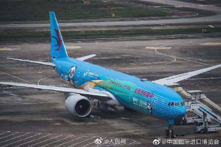 全球首架进博号彩绘飞机正式亮相