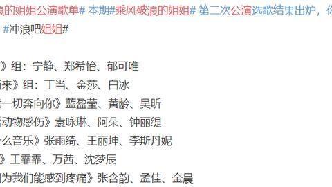 """《浪姐》第二次公演歌单曝光,姐姐们选曲呈现""""反差萌""""趋势"""