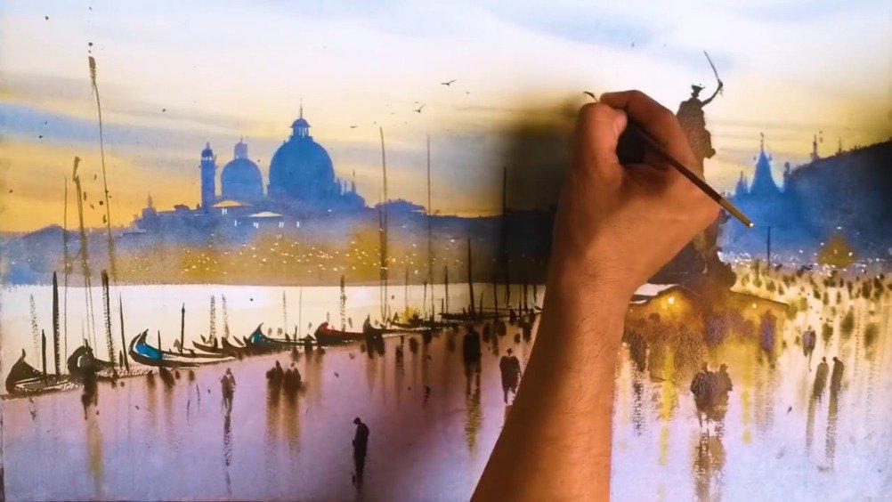 美丽的威尼斯 水彩风景画