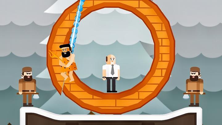 忍者先生 光头强被锁在大圆环中,我切开圆环推倒坏蛋坑惨光头强