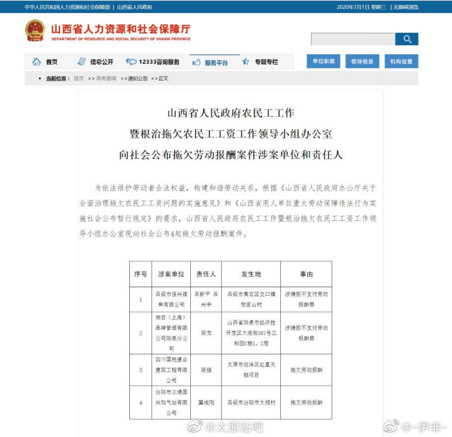 太原红星天铂项目拖欠劳动报酬被通报