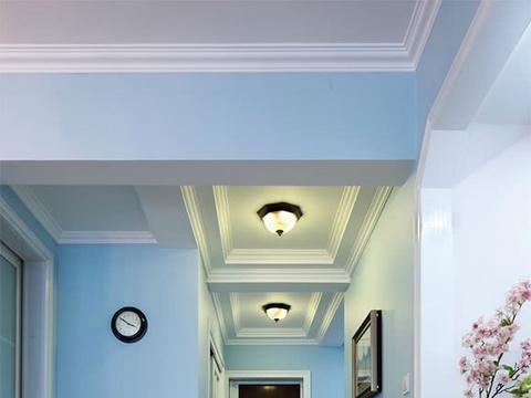 清新活泼的美式风格三房装修,淡蓝色墙面很清新,面积小很实用
