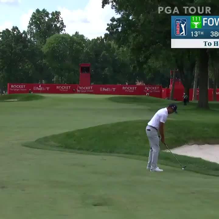 次轮精彩瞬间,福勒在第13洞拿下背靠背小鸟球……