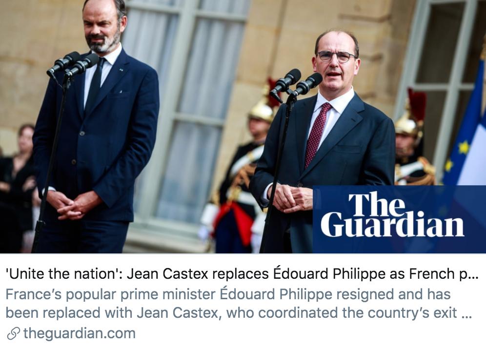 让·卡斯泰取代菲利普成为新总理。/ 《卫报》报道截图