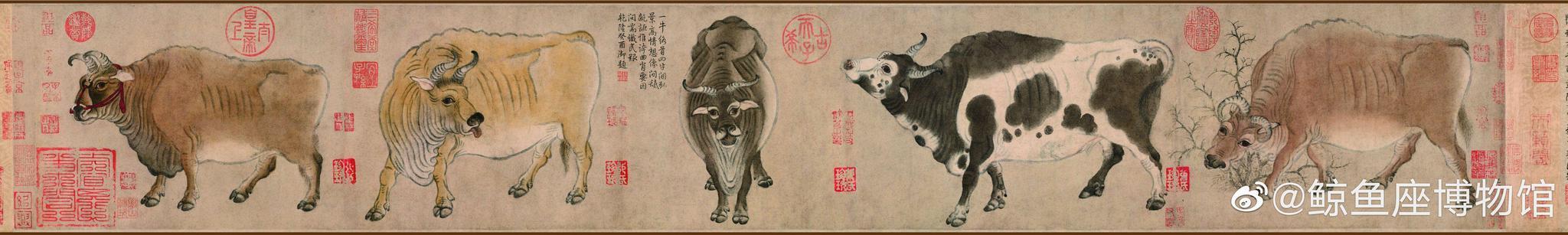 唐 | 韩滉 | 五牛图全卷 | 纸本 | 20.8x139.8 | 十大传世名画