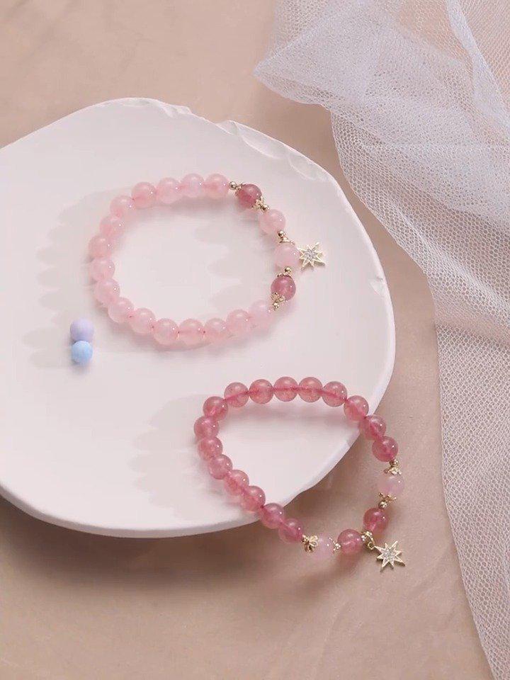 🌸来招个桃花? (¥49)zincand 天然草莓晶手链 💥-500大卷……