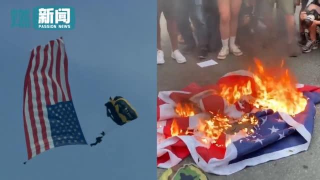 """白宫内庆典活动跳伞礼炮""""致敬美国"""""""