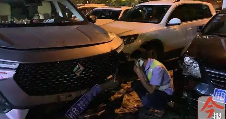 柳州东环大道星源停车场,一车失控连撞五车!事发前后目击者看到这幕