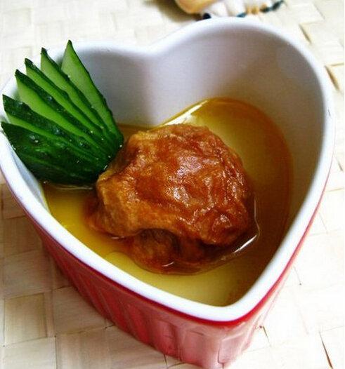 豆角炖排骨、豆奶茶碗蒸、酿面筋的做法