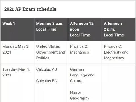 College Board公布2021年AP考试时间