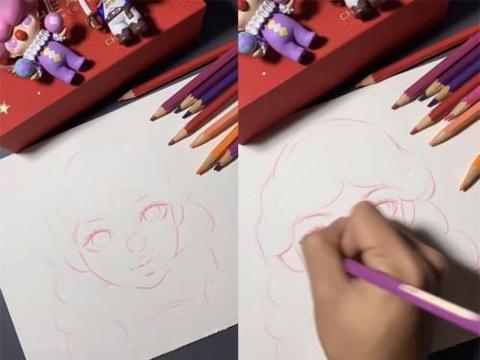 """美术生彩铅笔画""""漫画女"""",成品:需要卸妆水吗?"""