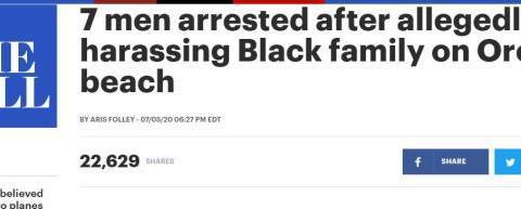 用种族侮辱和纳粹敬礼骚扰黑人,美国警察逮捕7名男子