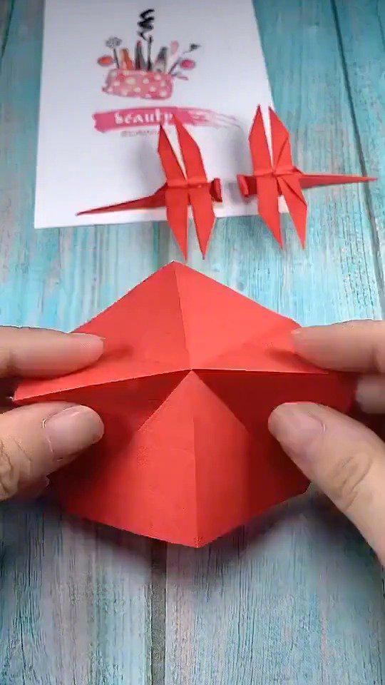超级简单的红蜻蜓折纸,没错是一看就会的那种