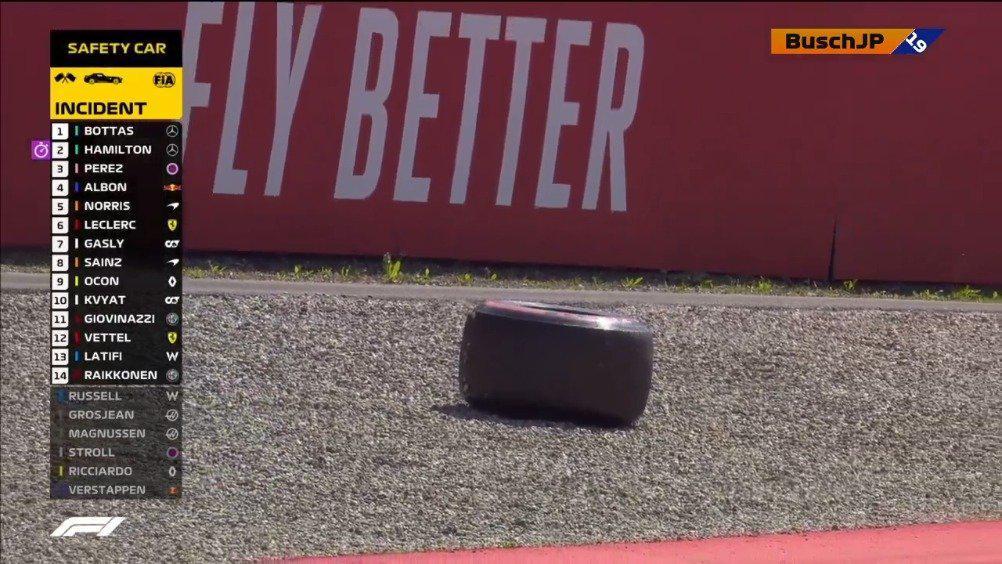 莱科宁的右前轮胎脱落...