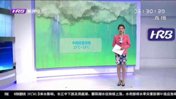 哈尔滨今明两天仍有雷雨天气,8日天气逐渐转晴,气温最高达29℃