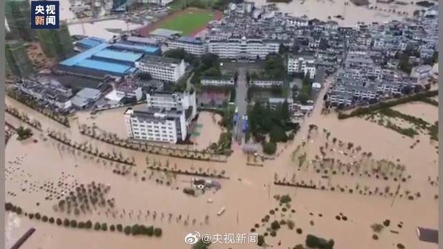安徽歙县高考数学考试延期 最新现场:歙县灾情航拍