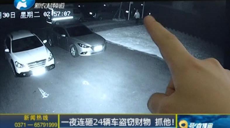 一夜连砸24辆车盗窃财物 抓他!