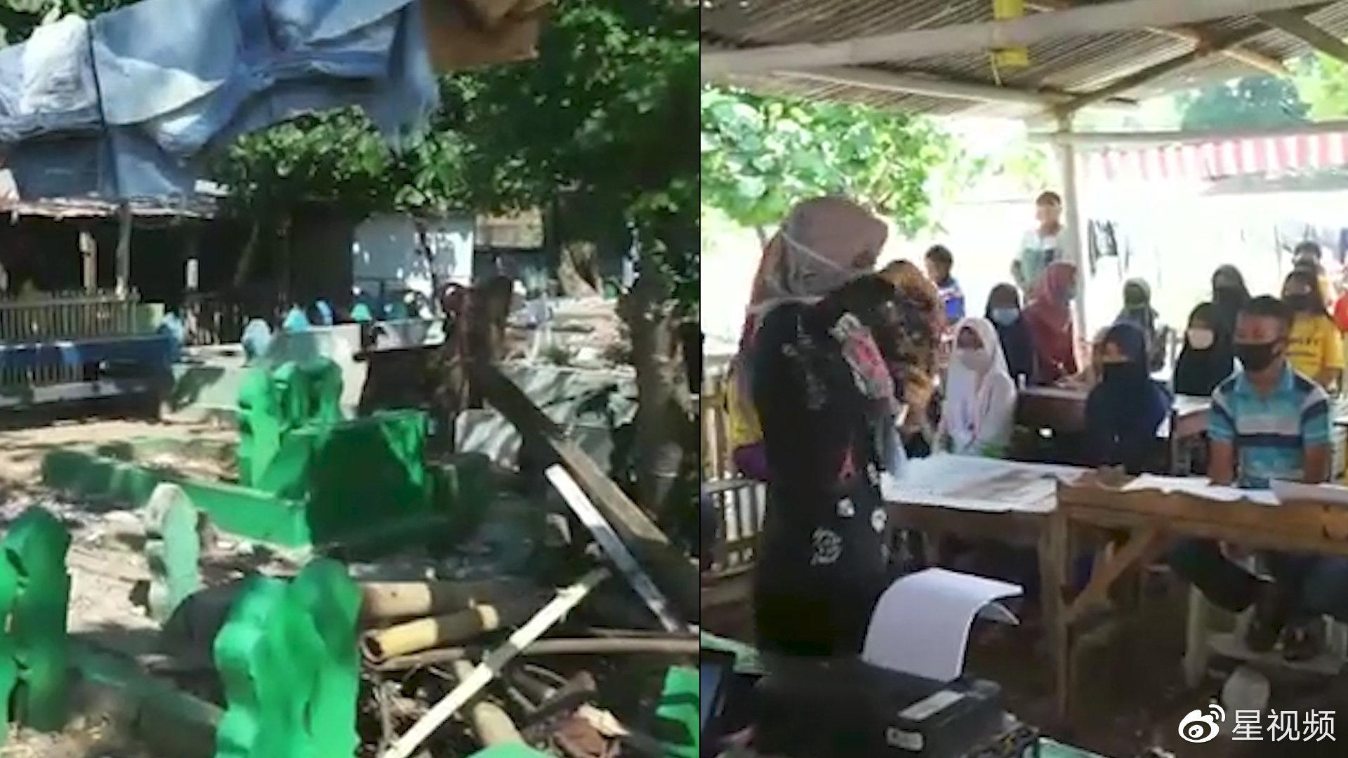 疫情期间,印尼部分孩子无钱上网课,在墓地借地学习