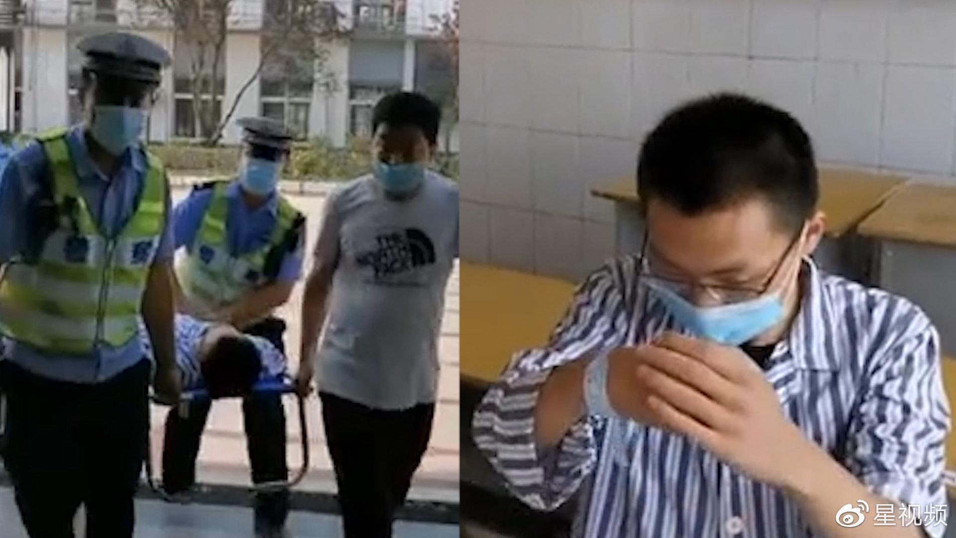 考生高考前突发阑尾炎,做完手术行走困难,民警一路抬进考场