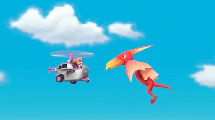 汪汪队:天天在天上遇到了翼龙,这家伙可凶了,赶紧逃跑呀