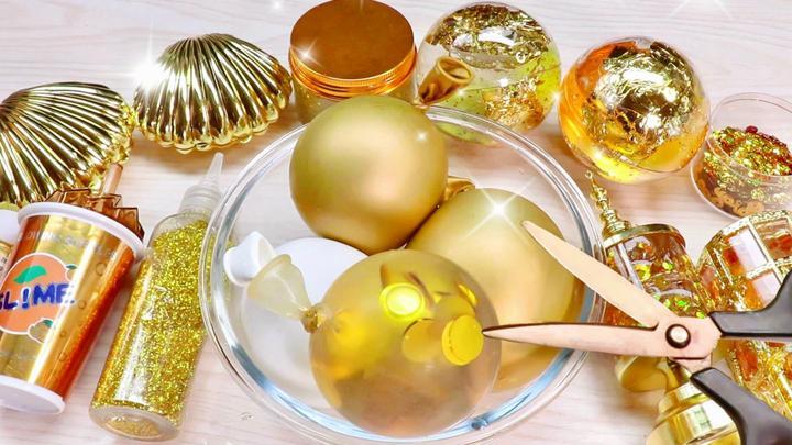 金色史莱姆大集合!金色气球加上金色的无硼砂泥,也太土豪了!