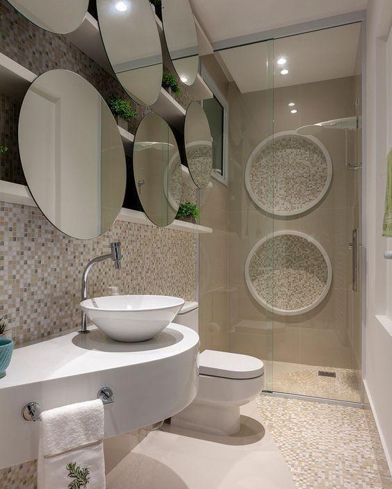 方形洗漱台早该被淘汰,5㎡的卫生间做成这种,更具美感收纳更强