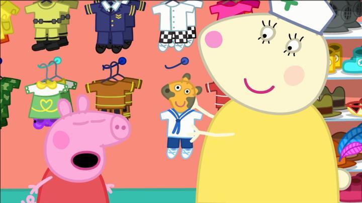 小猪佩奇:兔小姐好温柔,给佩奇的泰迪穿了衣服,可是佩奇不喜欢
