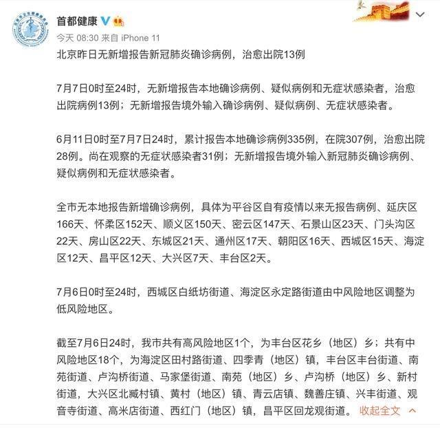 北京西城区白纸坊街道、海淀区永定路街道由中风险地区调整为低风险地区
