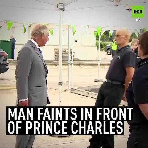 太激动?英国男子受查尔斯王子接见时突然晕倒