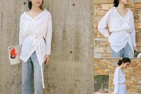 白色上衣+牛仔裤,再搭配一双白色鞋子,今年很时髦的穿法!