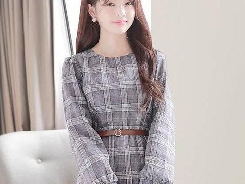 经典格纹毛呢裙,秋冬常见单品,喜欢连衣裙的不要错过