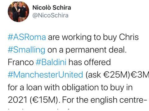 名记证实,罗马有意买断斯莫林,但报价缺诚意,曼联不如将其召回