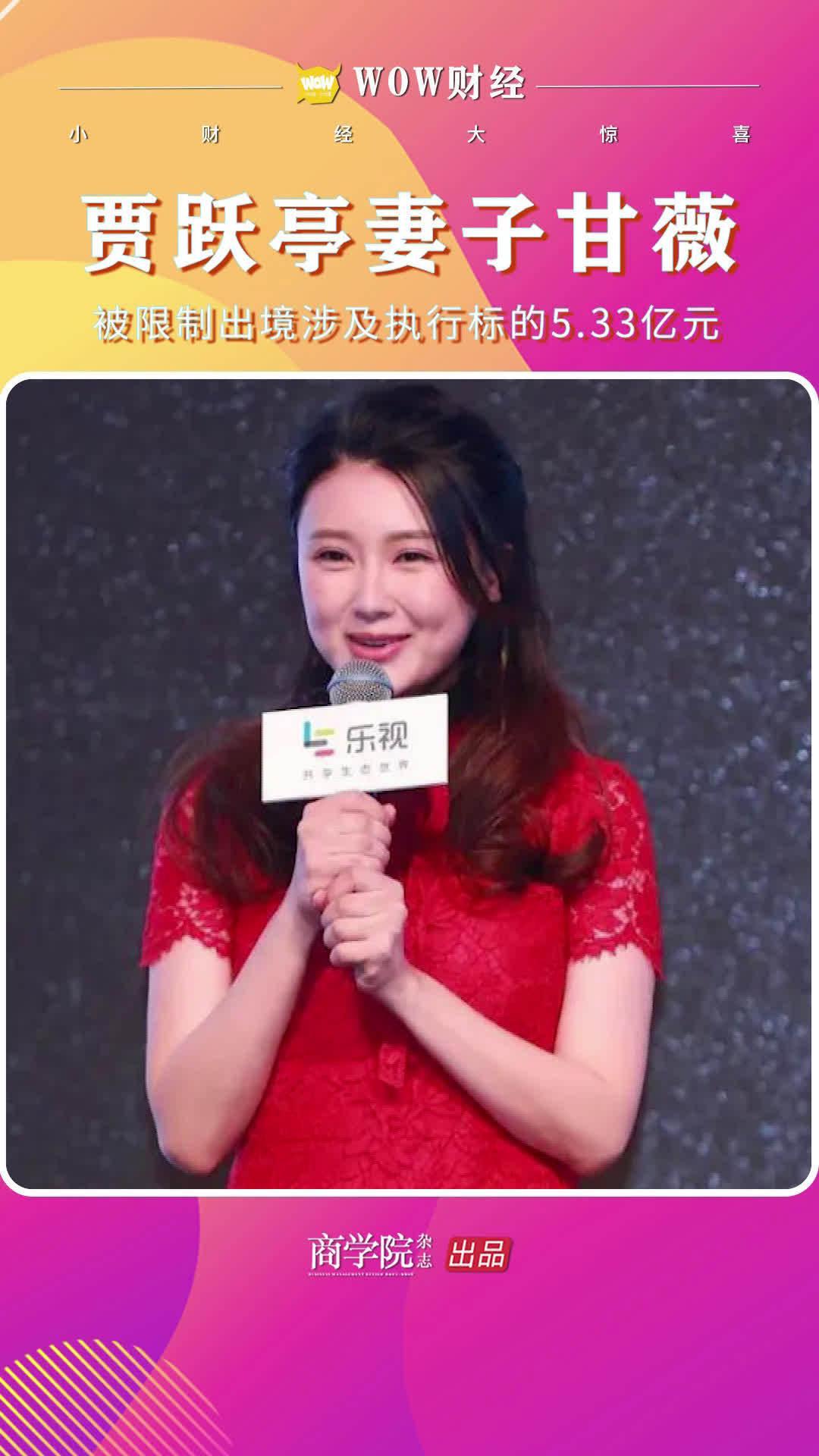 贾跃亭妻子甘薇被限制出境 涉及执行标的5.33亿元