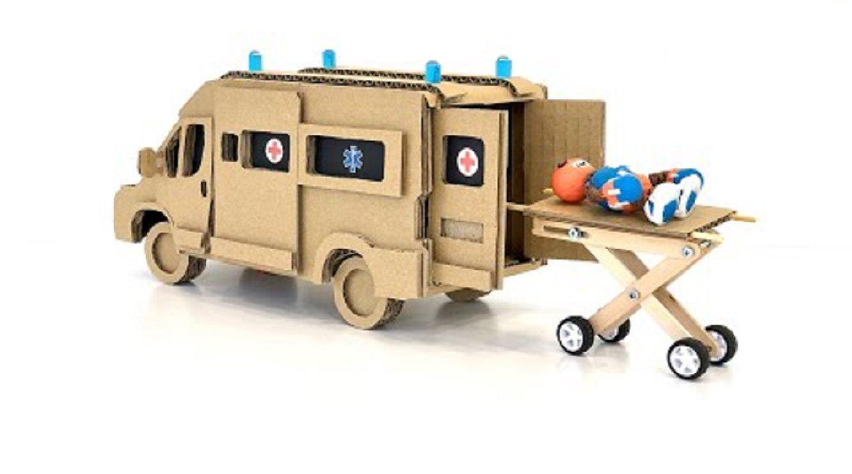 用纸板自制遥控救护车,有空自己动手也做一辆