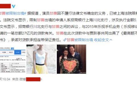 乐视退市,甘薇遭追讨5.3亿被限制出境,刘涛邓超孙俪损失破亿